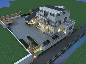 鸟瞰民宿模型模型3d模型