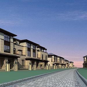 中式别墅群模型3d模型