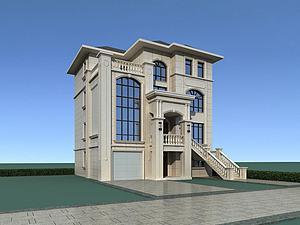 石材别墅模型模型3d模型