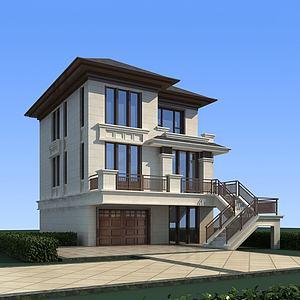 中式别墅模型3d模型