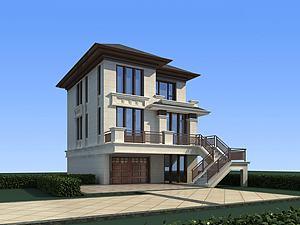 中式别墅模型模型3d模型