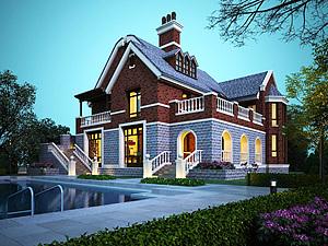 英式别墅模型3d模型