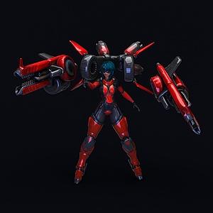C4D美女戰士游戲模型