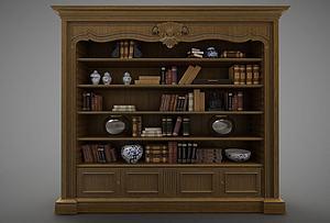 现代欧式原木书柜组合模型3d模型
