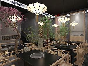 中式个性绿色餐厅模型3d模型