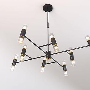 北欧双玻璃头吊灯3d模型