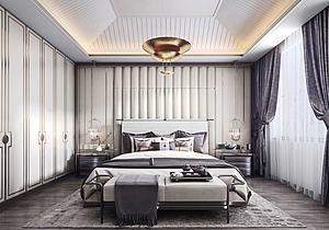 中式簡約臥室模型3d模型