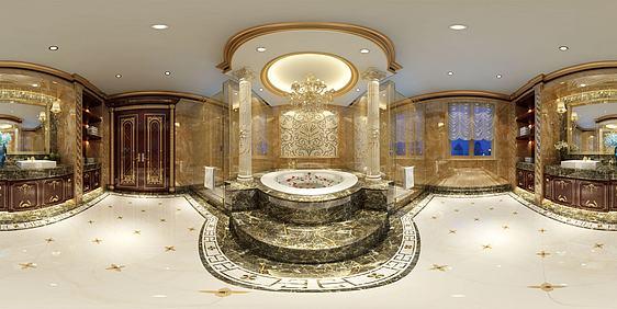 现代简约浴室全景3d模型