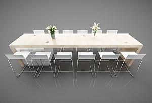 现代多人餐桌椅组合模型3d模型