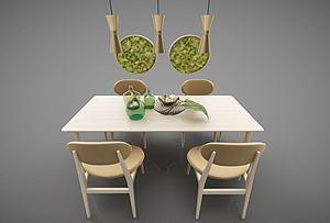 現代餐桌組合模型3d模型