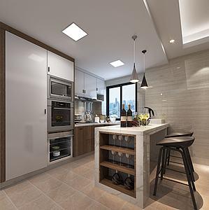 现代厨房吧台模型3d模型
