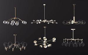 北歐透明燈泡吊燈模型3d模型