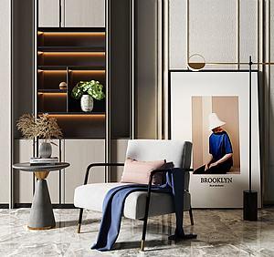 現代布藝休閑沙發模型3d模型