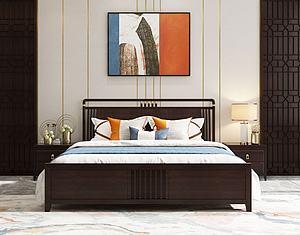 新中式實木雙人床組合模型3d模型
