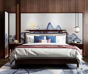 新中式實木雙人床模型3d模型