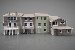 現代別墅群模型3d模型