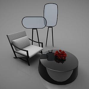 現代桌椅風格3d模型