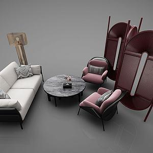 現代桌椅組合3d模型