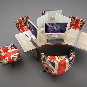 現代網吧電腦桌組合3d模型