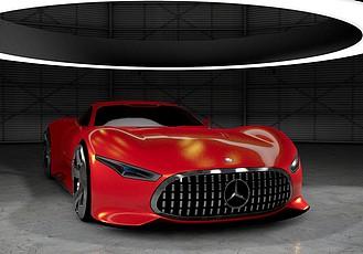 C4D 梅赛德斯奔驰远景大赛车模型