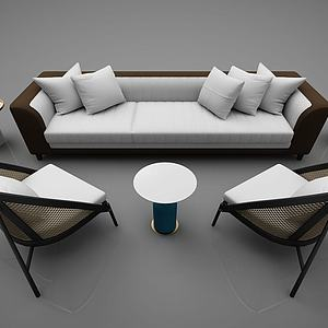 現代風格沙發茶幾組合3d模型