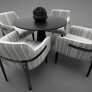 小圓桌帶四把沙發椅3d模型