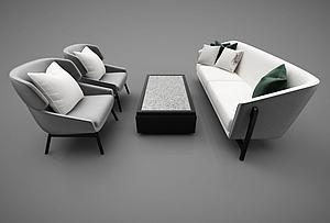 现代风格沙发茶几组合模型3d模型
