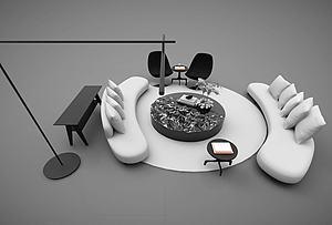 会议室接待室沙发茶几组合模型3d模型