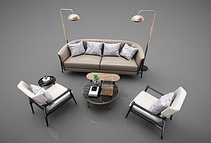 休闲沙发茶几组合模型3d模型
