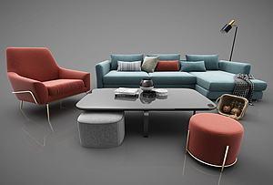 现代风格布艺沙发茶几模型3d模型