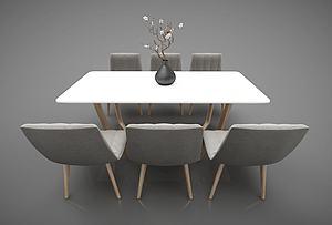 现在简约餐桌椅子组合模型3d模型
