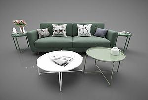 現代休閑沙發茶幾組合模型3d模型