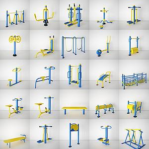小区广场健身器材3d模型