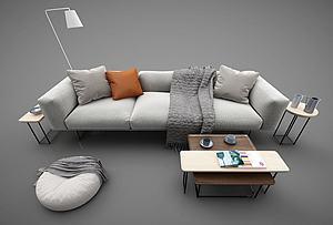 现代布艺沙发茶几组合模型3d模型