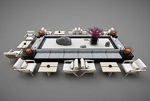 现代休息区会客区沙发茶几模型3d模型