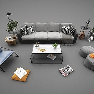 现代风格沙发茶几组合3d模型