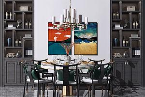 家裝餐廳新中式圓形餐桌椅模型3d模型