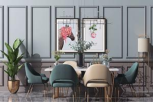 現代北歐餐桌椅餐廳裝修模型3d模型
