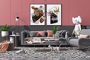 北欧现代布艺沙发茶几组合模型3d模型