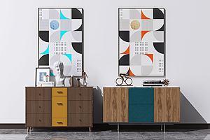 北歐現代餐邊柜裝飾柜組合模型3d模型