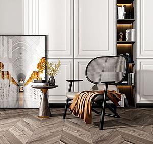 休閑椅小圓桌模型3d模型
