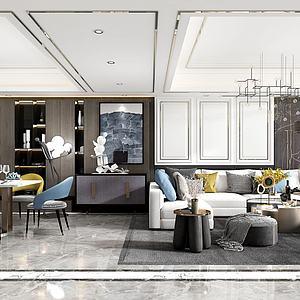 現代客餐廳3d模型