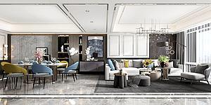 現代客餐廳模型3d模型