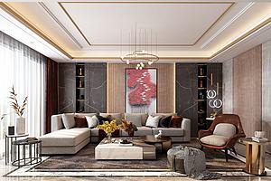 后現代客廳模型3d模型
