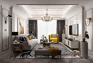 簡歐客廳模型3d模型
