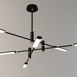 北欧3D现代金属管吊灯3d模型
