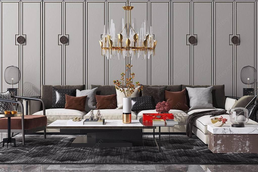 新中式布艺沙发茶几花瓶