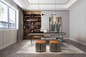 現代簡約書房模型3d模型
