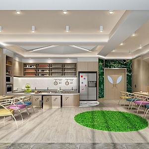 简约餐厅奶茶店3d模型