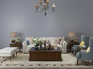 欧式客厅沙发茶几组合模型3d模型